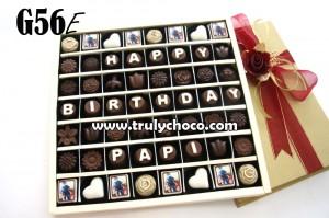 G&BE EG56: Paket chocogift isi 56pcs dengan foto / gambar custom dan choco bouquet (gift tutup mika: Rp. 280.000), (gift tutup hardcover : Rp. 315000) ...