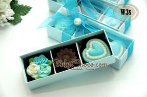 souvenir pernikahan coklat warna biru turkis