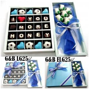 Paket chocogift isi 25pcs dengan hiasan coklat mickey minnie dan choco bouquet (gift tutup mika kode G&B LG25 mickey: Rp. 175.000), (gift tutup hardcover ...
